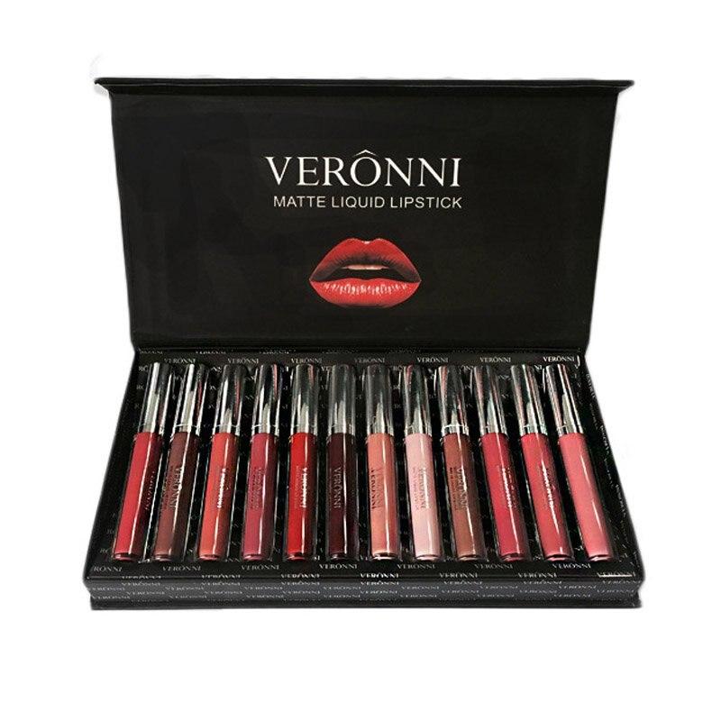 12 PCS Brand Lipstick Tint for Lips Cosmetics Longwear Not Fade Magic Lip Gloss Matte Metallic Liquid Lipstick W1 longevity lipstain berry terra firma cosmetics 1 lip gloss