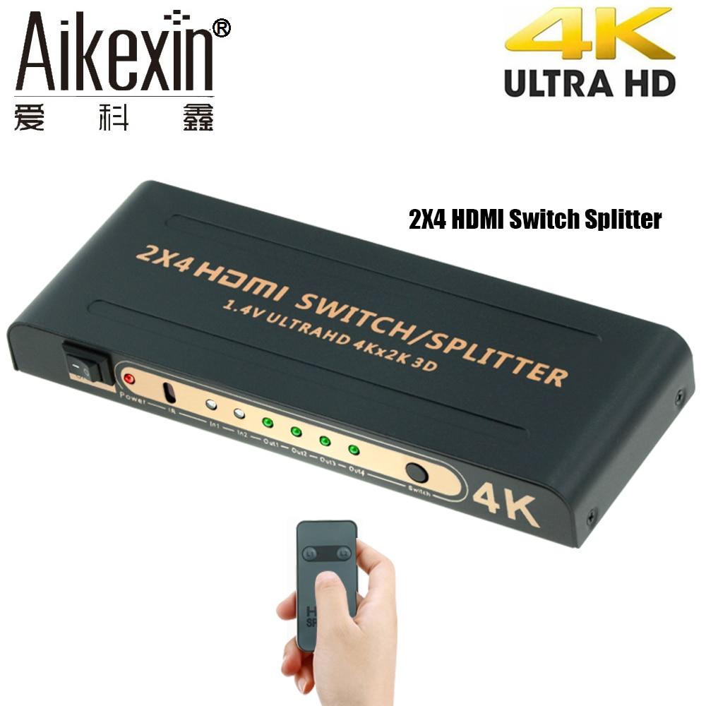 Aikexin 4Kx2K HDMI Switch Splitter 2x4 with IR HDMI Splitter 2 input 4 output Switch Support HDMI1.4 Ultra HD 4K,1080P,3D hdmi 2x2 splitter switch distributor selector 1 4 2 input 2 same output 3d 1080p ir remote conrol hd2 2