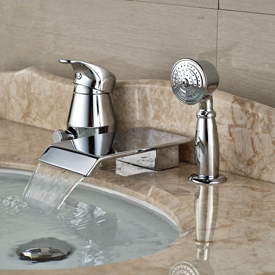 ᗕwholesale And Retail Deck Mounted Waterfall Bathtub Faucet 3 Hole
