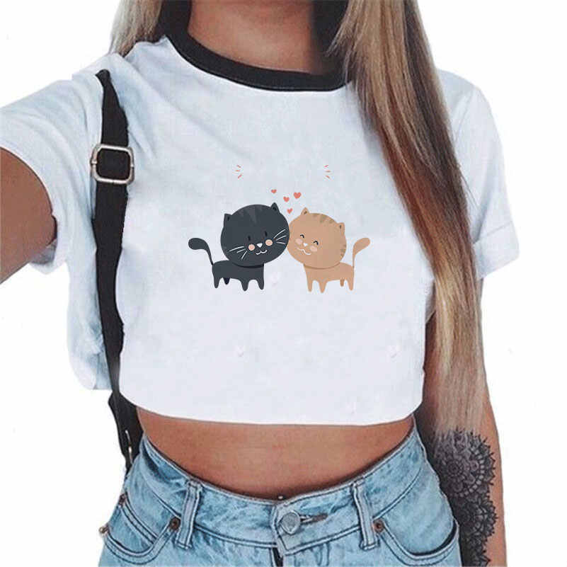 CDJLFH 2017 여름 하라주쿠 반팔 티셔츠 고양이 프린트 스타일 루스 트롭 탑 카와이 티셔츠 섹시한 여성 티셔츠