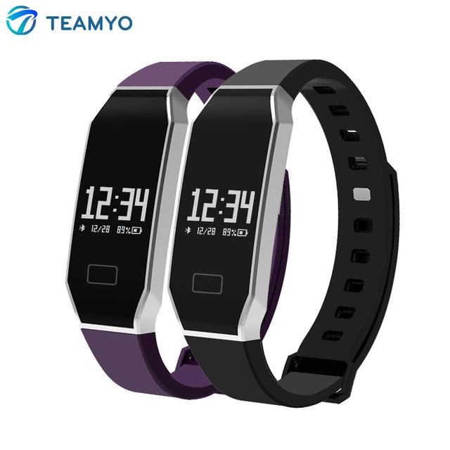 Teamyo e02 banda inteligente rastreador de ejercicios wristabands de presión arterial monitor de ritmo cardíaco de bluetooth 4.0 inteligente para android ios