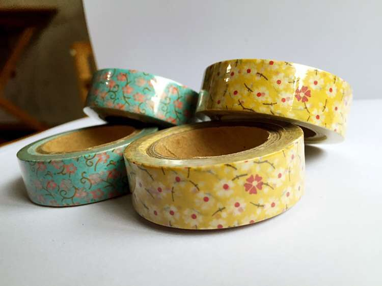 Beautiful  15mm*10m  High Quality  Washi Paper  Tape/blue Little Flower And Yellow Lilttle Flower Masking  Japan  Washi Tape