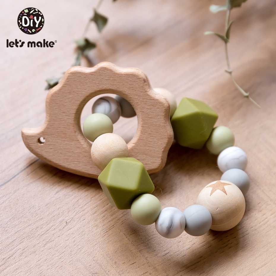 Let'S Make Wooden Rattle Teether Baby Toys Engraved Wood Beads Hexagon Teether Silicone Beads 12Mm Tiny Rod Baby Crib Rattle