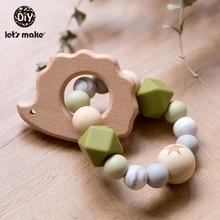Lassen sie Machen Aus Holz Rassel Beißring Baby Spielzeug Gravierte Holz Perlen Hexagon Beißring Silikon Perlen 12Mm Tiny Stange Baby krippe Rassel