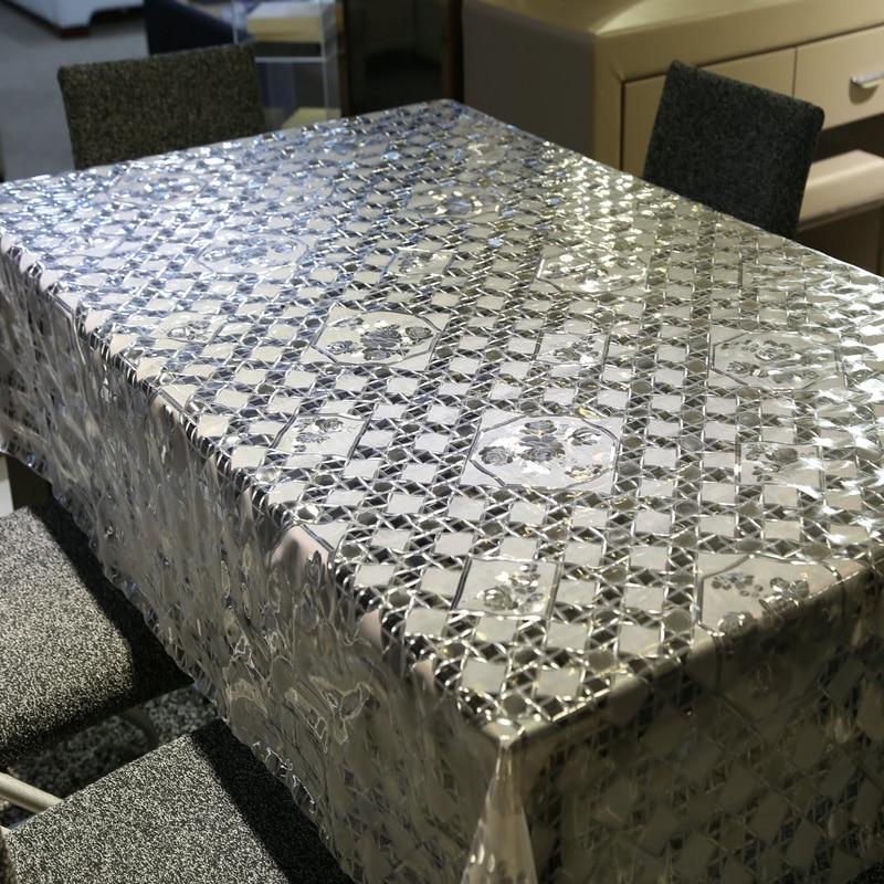 Jualan panas putih & telus kain kotak meja PVC minyak kalis air - Tekstil rumah