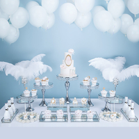 13 17pcs Silver Wedding Dessert Table Wedding Decoration Cake Stand Tray Set mirror tray