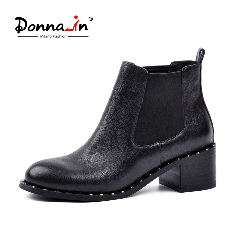 Donna in Boots Women Genuine Leather Ankle Boots for Women Heels Round Toe Black Chelsea Boots
