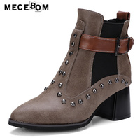 Women boots 2017 new design rivet decoration ankle boots lady sexy pump shoes pointed toe sapato feminino big size 34-42 f71w