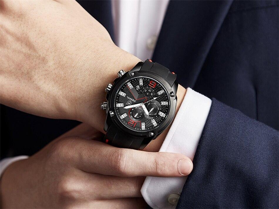 DIESSOL Men's Fashion Sports Quartz Watch Mens Watches Top Brand Luxury Rubber Band Waterproof Business Watch Relogio Masculino 26