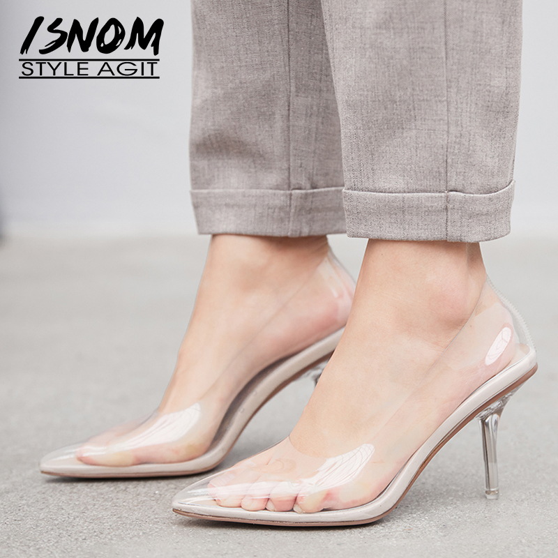 ISNOM Thin High Heels Pumps Women Pointed Toe Footwear Fashion Pvc Shoes Female Transparent Party Shallow