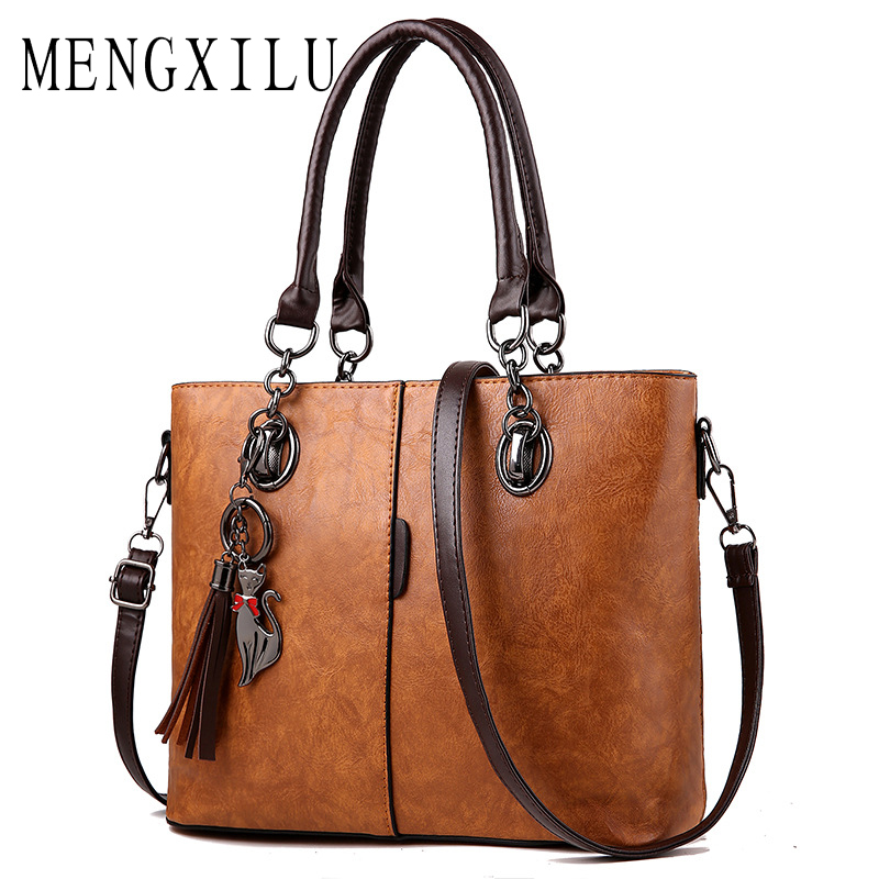 MENGXILU Tassel Luxury Handbags Women Bags Designer High Quality PU Leather Shoulder Bag Women Famous Brands Women's sac a main 6 set luxury handbags women bags designer high quality female shoulder bags fashion tassel famous brands casual tote pu leather