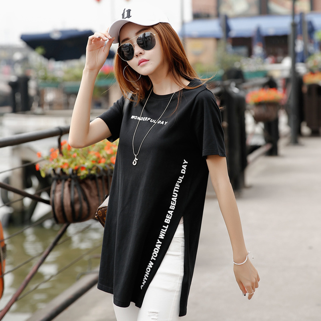 New 2017 Summer T Shirt Women Top Tee Short Sleeve 100% Cotton Female T-shirt Side Opening Long T-shirts For Women Poleras Mujer