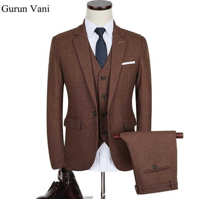 Jacketpantvest Solid Color Brown Slim Fit Dress Man Business Suit