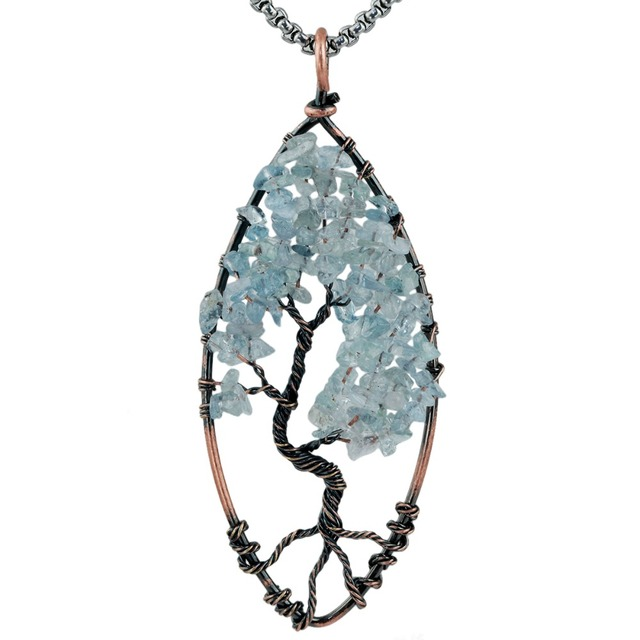 SUNYIK Blue Crystal Tumbled Stone Tree of Life Pendant,Wire Wrapped ...