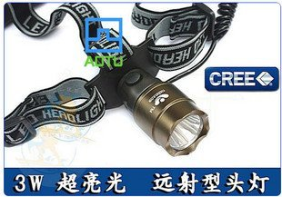 Three block dimmer, light and high-power 3W headlight ore head lamp lights CREE American fishing