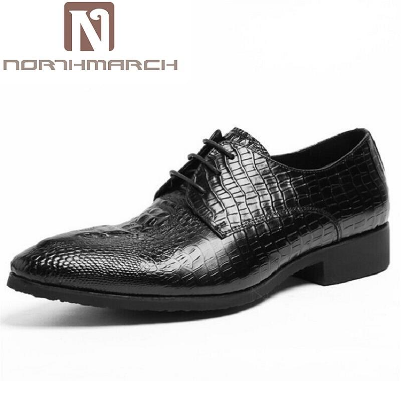 цена на NORTHMARCH Leather Pointed Toe Elegant Crocodile Leather Mens Dress Shoes Oxford For Men Business Formal Shoes Herren Schuhe