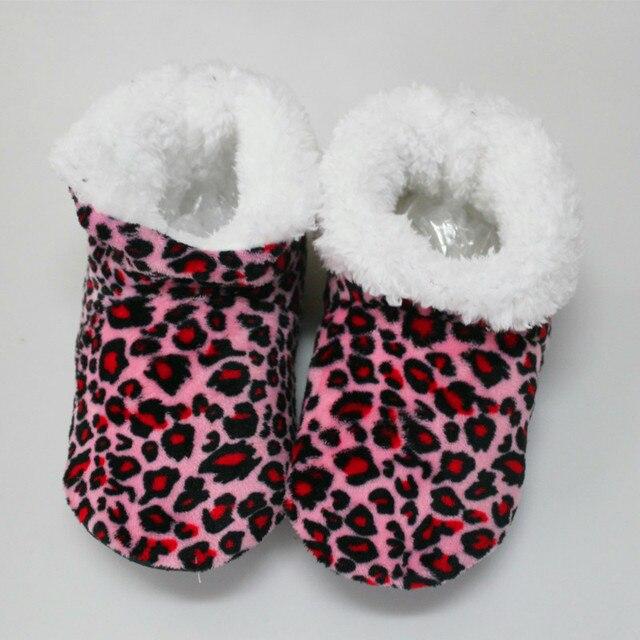 Оптовая Зима Новый Женщин Высокого топ Хлопка Тапочки Теплые Плюшевые Leopard Крытый Обувь Non-slip Мягкое Дно Домой этаж Тапочки
