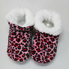 Wholesale Winter New Women High-top Cotton Slippers Warm Plush Leopard Indoor Shoes Non-slip Soft Bottom Home Floor Slippers