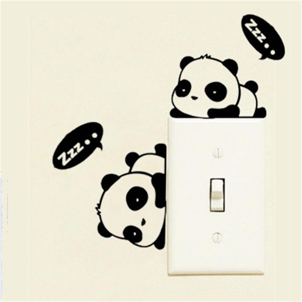 Children Bed Room Cartoon Panda Switch Sticker Antifouling Waterproof Wall Sticker 3pcs hot