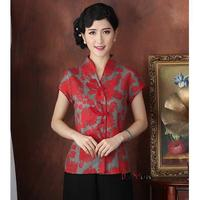 New Arrival Red Chinese Tradition Women S Shirt Summer Short Sleeve Blouse Tops Flower Plus Size