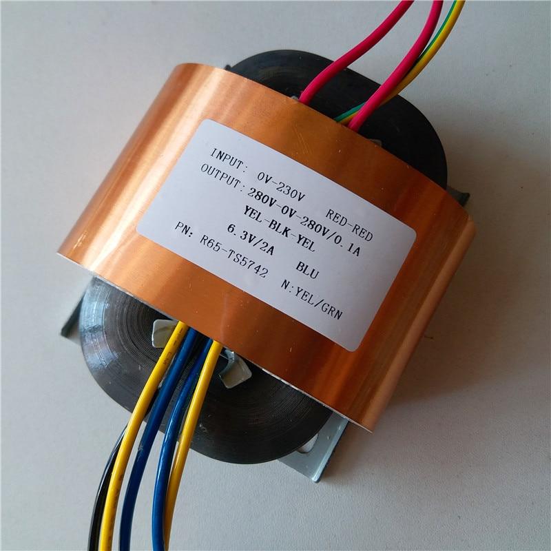 280V 0 280V 0.1A 6.3V 2A R Core Transformer R65 custom transformer 230V input copper shield for Pre decoder Power amplifier-in Transformers from Home Improvement    1