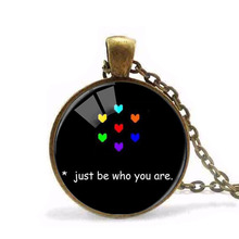 "Hot "" Just Be Who You Are"" Colorfu Heart Photo Glass Pendants Black Long Chain Necklace Women Fashion Undertale Jewelry game HZ1"