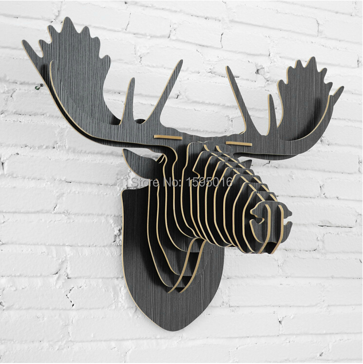 Scandinavian modern wood creative home decoration,Nordic Canada Finland Sweden Norway reindeer elk deer moose caribou home decor