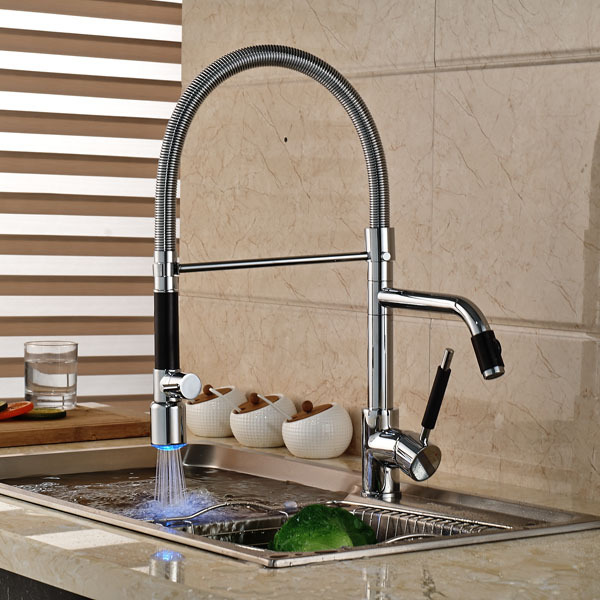 LED Pull Out Spring Kitchen Sink Faucet Swivel Spout Mixer Tap Chrome Finished new pull out sprayer kitchen faucet swivel spout vessel sink mixer tap single handle hole hot and cold
