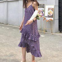 цены Women Summer Purple Sling Floral Maxi Sexy Dress 2019 New Clothes Elegant Loose Irregular Stitching Chiffon Vestido Oodji HJ280