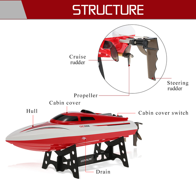 GoolRC RC Boat GC002 2.4G Remote Controll 180 Flip 20KM/H High Speed Electric RC Racing Boat RC Ship Toys for Boy Gifts