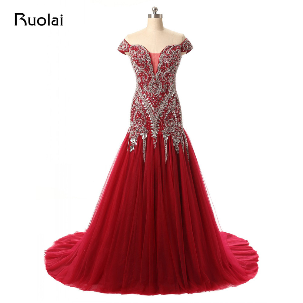 Gorgeous Red Mermaid Evening Dresses 2019 Sheer Off the Shoulder Prom Dresses Long with Heavy Crystal Dubai Party Dress PD19