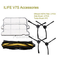 Original ILIFE V7S Robot Vacuum Cleaner Parts Efficient HEPA Filter 2 Pcs Side Brush 4 Pcs