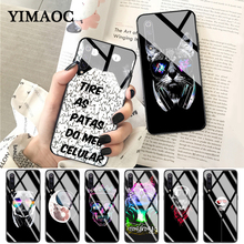 YIMAOC funny Cat dog wearing sunglasses cute Glass Case for Xiaomi Redmi 4X 6A note 5 6 7 Pro Mi 8 9 Lite A1 A2 F1 giant escape 0 2014