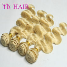 Queen love Brazilian blonde hair 4 bundles 613 virgin body wave 100% unprocessed human hair,no shedding and no tangle