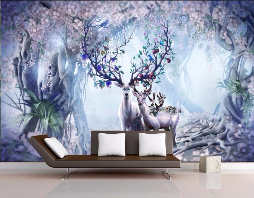Custom Mural 3d Room Wallpaper Fantasy Forest Elk Home