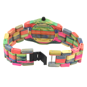 Image 3 - BEWELL 105DL טבע בעבודת יד צבעוני במבוק עץ שעון נשים אנלוגי קוורץ אופנה שעוני יד עם צבעים לערבב משלוח חינם