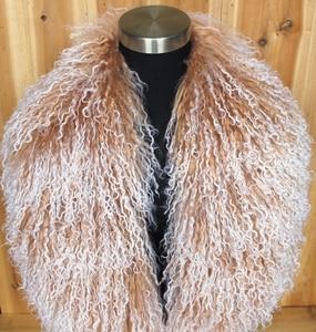 Image 2 - Col en fourrure mongole, écharpe, châle, écharpe, châle, en véritable laine mongole, XX Large, en solde