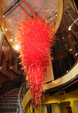 Large Luxury Blown Glass Staircase Chandelier Light White or Red Color LED Bulbs Chihuly Style Murano Art