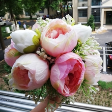 New Handmade Peony Artificial bride Pink Bouquet hot Pink Peony Holding flowers Bridesmaids Pink Peony Bouquet все цены
