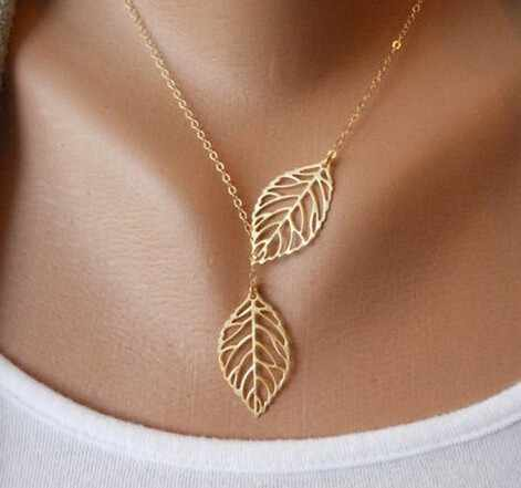 Fine Jewelry New Gold And Silver Metal Leaf Pendants Necklace Chain Double Leaves Multi Layer Statement Necklaces Set
