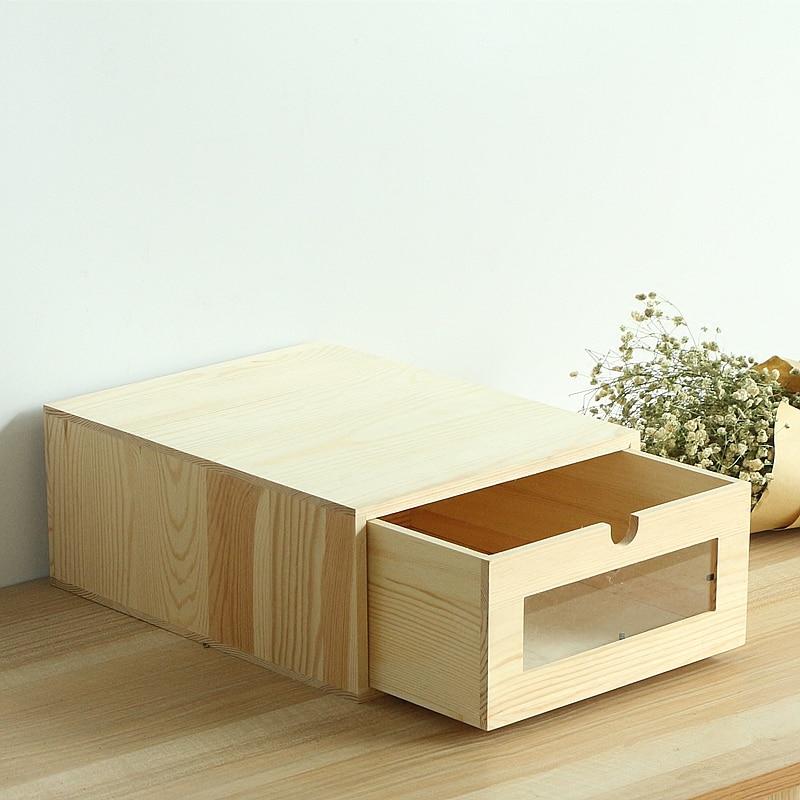 Organizador de Mesa de madeira De Papel A4 Bill Stationary Office/Eco Sem Pintura de Madeira Caixa de Armazenamento de Arquivos De Armazenamento Gavetas