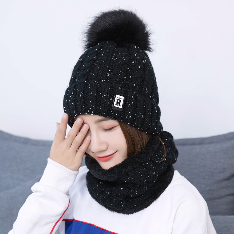 2019 Knitted Beanies Winter Hats Women Thick Warm Beanie Skullies Hat Female Knit Letter Bonnet Beanie Cap Outdoor Hat And Scarf