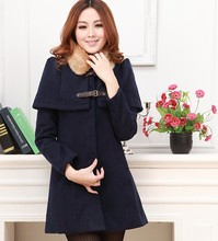 2013 Korean Winter Jacket Coats For Woman / Women Lapel Slim Fur Collar Cloak Cape Overcoat