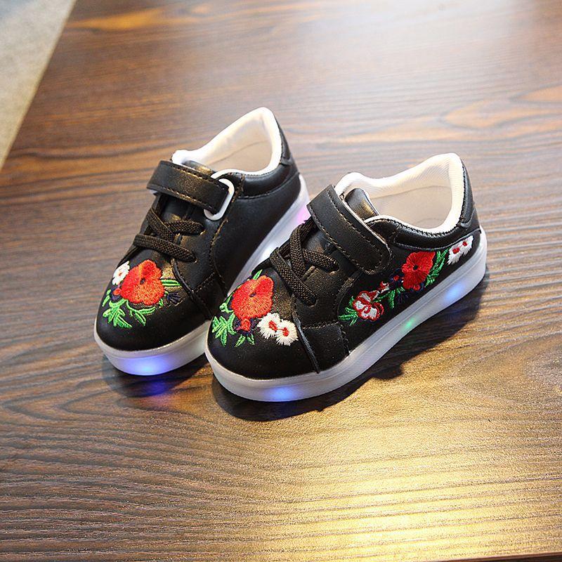 kwiatowy print PU skórzane buty dziecięce led świecące trampki - Obuwie dziecięce - Zdjęcie 3