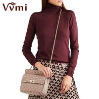 Vvmi 2016 New Women Gorgeous Rivet Chic Messenger Handbags Female Genuine Leather Lattice Chain Strap Single