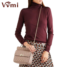 Vvmi bolsos women gorgeous rivet chic messenger handbags female genuine leather lattice chain strap single shoulder bags