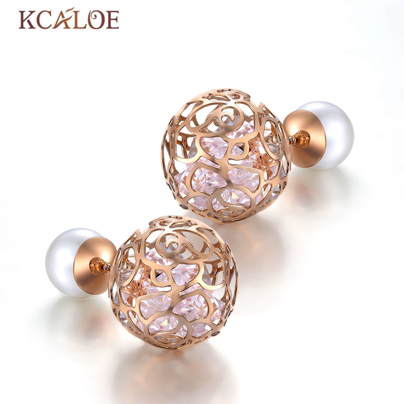 KCALOE Double Pearl Ball Earrings Big Transparent White Crystal Hollow Flowers Rose Gold Color Two Sided Women Stud Earrings