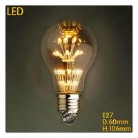 Ordre d'échantillon A19 LED étoiles 110 V 220 V 3 W LED De Noël Antique Rétro Edison Ampoule Pendentif Lampe Vintage verre ampoules pour lustre