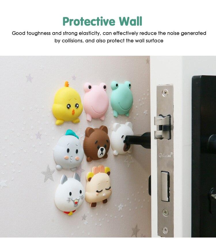 Doorknob Door Stickers Cartoon Modelling Rubber Fender Handle Door Lock Protective Pad Protection Collision Protection Bumper