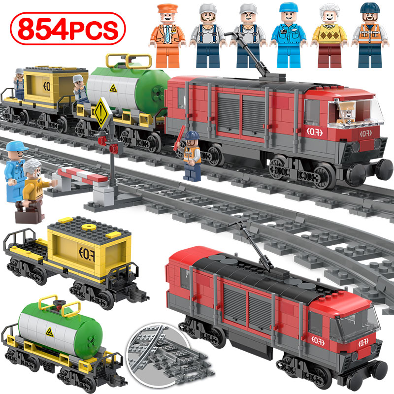 City Railway Goods locomotive Model Building Blocks Legoinglys Intercity Passenger Trains Bricks Figures For Children Toys Gifts